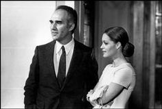 """FRANCE. Paris. French Actor Michel PICCOLI and German  Actress Romy SCHNEIDER during the filming of """"les choses de la vie"""" a film by French film maker Claude SAUTET. 1969."""