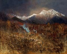 Builiding a Fire In the Tatras by LászlóMednyánszky Baron, Landscape Art, Art World, Impressionism, Moonlight, Twilight, Orchids, Mountain, Europe