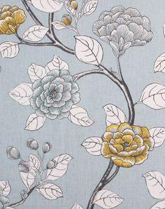 "Leda Peony, Aquatint; 55"" wide 55% Cotton / 45% Linen; $29.95 per yard - Tonic Living #goldgrayblueset"