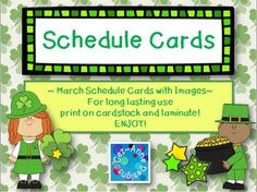 March Theme Schedule Cards with cute images for those who like to switch things up!   Subjects include:  Morning Work Readers Workshop Phonics Spelling Snack Recess Health Social Studies Science Open Circle Meeting Assembly Writers Workshop Math Library Art Gym Music Guest Dismissal Plus Two Blank Pages to personalize!