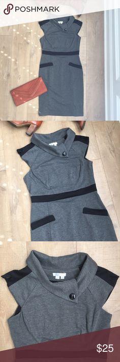 Winter Cowl Dress Warm, grey dress with black trim & comfy Cowl neck. Super soft & cozy! Great condition! London Times Dresses
