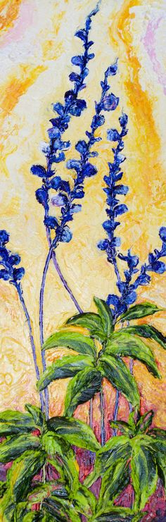 Blue Flowers 8x24 Inch Original Impasto Oil by OriginalsbyParis