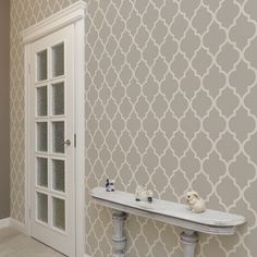 Peel and stick removable Moroccan print wall paper in warm grey For inside of closet?