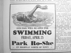 A newspaper clipping from 1940 indicates the name was changed to Park Ro-She sometime during the Photo courtesy Springville Historical Society Historical Society, Historical Photos, Looking Back, Newspaper, 1930s, Ocean, America, Shit Happens, Park