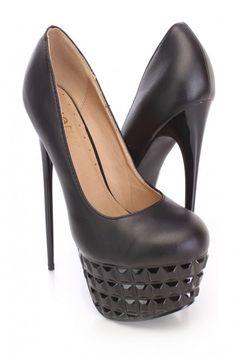 Black Carved Platform Pump High Heels Faux Leather