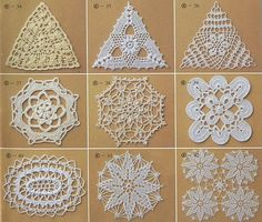 dozens of square and triangles crochet motif chart patterns