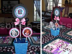 My Top 10 Favorite Halloween Parties – 'Ghoul Glam' Monster High Party for Tweens Monster High Halloween, Monster High Birthday, Monster High Party, Monster High Centerpieces, Party Centerpieces, Halloween Night, Halloween Party, 7th Birthday Party Ideas, 5th Birthday