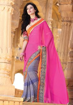 Pink and Blue Pure Chiffon and Pure Georgette Saree with Blouse @ $210.00