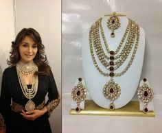 Buy Famous Bollywood Replica Jewelry Set in Maroon with Pearls Online
