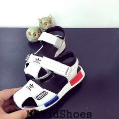 White Adidas NMD Children's Shoes Upper Leather Fashion Sandals