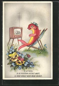A vintage April 1st postcard featuring a cute fish watching - rather humorously fishing - on TV. #vintage #April_Fools_Day #fish