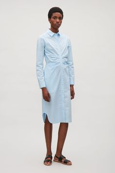 COS image 1 of Draped shirt dress in Light Blue