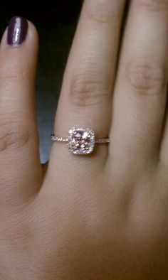 Pink champaign Sapphire and diamond halo ring