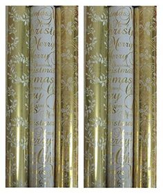 6 x Rolls Of Christmas Gift Wrap Paper 2M x 69cm Approx per roll Foil Wrapping Paper Gold With Holly White With Script Gold With Foliage WOWG Ideal for the Festive season.