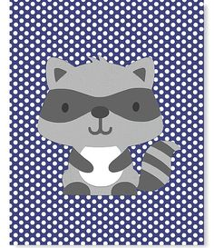 Raccoon Print Woodland Nursery Art Gray and Navy Nursery Print Forest Boy Girl 8 x 10 or 11 x 14 Print Cute Sweet on Etsy, $15.00