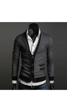 Men's Contrast Button up Cardigan