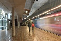 Panoramic and flat images of the Souterrain, metro station at the Spui in The Hague, The Netherlands, by Rem Koolhaas/OMA For ArchPlus Magazine.