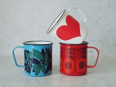 CoolCollector Retro Kaj Franck Red Heart Enamelware Mug - Vintage Arabia Finland Heart Cup - you'd look trendy going camping with these.