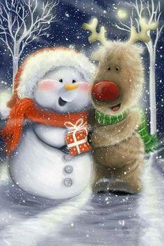 Schneemann - New Ideas Christmas Scenes, Christmas Pictures, Christmas Snowman, Vintage Christmas, Christmas Holidays, Christmas Decorations, Merry Christmas Wishes, Christmas Greeting Cards, Christmas Greetings