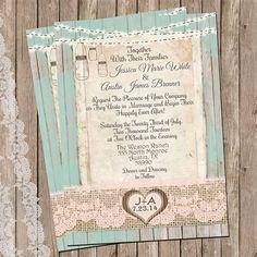 Rustic Burlap and Lace Wedding Invitation