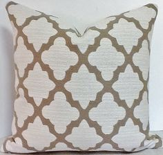 morrocan tile fabric | BOTH SIDES 20 X 20 moroccan tile geometric pillow cover mocha brown on ...