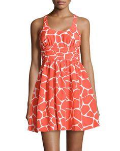 Scoop-Neck+Giraffe-Print+Pleated+Dress,+Orange+by+Susana+Monaco+at+Neiman+Marcus+Last+Call.