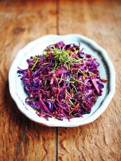 Celebrating the humble red cabbage, this is a delicious, braised red cabbage recipe from Jamie Oliver's Christmas Cookbook – enjoy it hot or cold. Red Cabbage Recipes, Cabbage And Bacon, Cabbage Salad, Cabbage Vegetable, Vegetable Recipes, Vegetable Sides, Veggie Side, Veg Dishes, Food Dishes