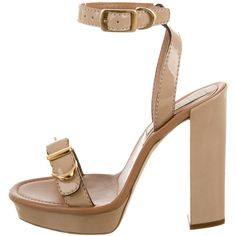 Pre-owned Stella McCartney Vegan Patent Leather Platform Sandals ($145) ❤ liked on Polyvore featuring shoes, sandals, neutrals, beige shoes, patent leather sandals, buckle shoes, beige sandals and ankle tie sandals