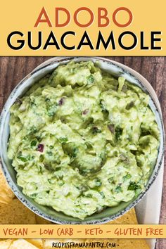 If you love Mexican food, then you'll love this Adobo Guacamole recipe made with only a few ingredients and 5 minutes of prep. This easy guacamole is a great appetizer, snack or side for Mexican dinners, taco nights, parties, Cinco de Mayo and meal prep! Learn how to make guacamole. #guacamole #dip #mexican #avocado #cincodemayo Homemade Guacamole, Guacamole Recipe, Guacamole Dip, Vegan Mexican Recipes, High Protein Vegetarian Recipes, Vegan Recipes, Healthy Side Dishes, Vegetable Side Dishes, Great Appetizers