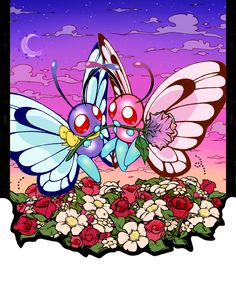 Ash's butterfree and the pink butterfree