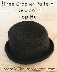This Newborn Top Hat is great for a photo prop. Skill Level Intermediate Size Included Newborn Finished Size 13 1/2″ circumference (yarn should stretch) 3 1/2″ long from top of the hat (minus brim) *These are our finished measurements. If yours don't fit within these measurement, please check your gauge. Materials Worsted weight yarn (4-medium) Black I-9 (5.50mm) crochet hook Fabric scissors Yarn needle, to weave ends Gauge 5 dc