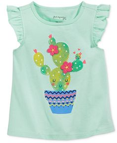 First Impressions Baby Girls' Flutter-Sleeve Cactus T-Shirt, Only at Macy's
