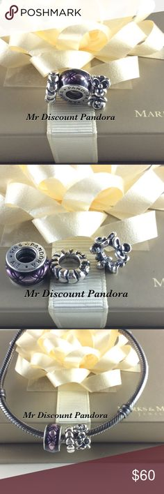 Pandora Customer Spacer Bundle DON'T PURCHASE IF YOU NOT @luxious_lashes. 100% Authentic Pandora Vintage Floral Purple Enamel #791034EN31,   Condition: Like new   Signature Markings ALE 925  🔵PRICE IS FIRM UNLESS BUNDLED  ⚫️NOT ACCEPTING LOWBALL OFFERS!!! 🛑NO TRADES‼️‼️‼️ 📦 Add charm box to any order for $5  See all my Pandora Jewelry boxes, Pandora gift bags and Pandora gift boxes in my listings. Pandora Jewelry Bracelets
