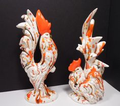 Vtg 50's White w/ Red Ceramic 2 PC Rooster Hen Figurines Country Chicken 12""