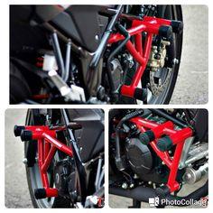 Crash bar yang dipakai Honda CB150R versi kompetisi safety riding #crashbar #safetyriding #ahsric #cb150r #streetfire by tmcblog