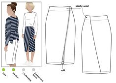 Pull-on tube skirt with angled design lines