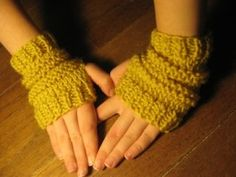 Easy fingerless gloves you can knit. Using only knit and purl, these gloves can be made in one sitting.