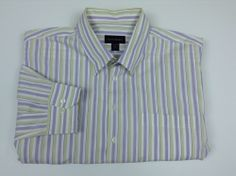 Scott Barber Long Sleeve Button Up Men's XXL 2XL Purple Yellow White Stripe