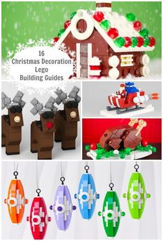 Here's a list of 16 incredible LEGO building guides for you to make LEGO ornaments and displays for Christmas. Check out LEGO Santa, LEGO reindeer, LEGO elves, and more! Lego Christmas Tree, Kids Christmas, Christmas Decorations, Lego Decorations, Christmas Patterns, Handmade Decorations, Lego Activities, Christmas Activities, Indoor Activities