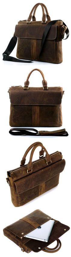 "Handmade Crazy Horse Leather Briefcase Messenger 14"" 15"" Laptop / 13"" 15"" MacBook Double Handles"