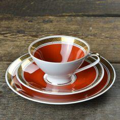 1960'S GEHREN FOX ORANGE TEA CUP TRIO $45.00