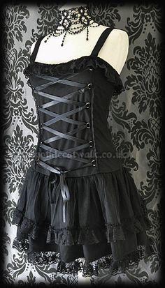 Black Mesh & Lace Gothic Corset Dress