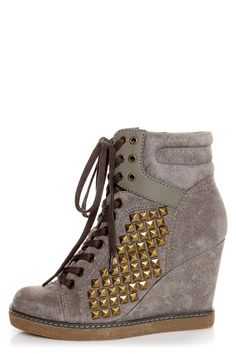 Check it out from Lulus.com! The Report Nadja Grey Studded Lace-Up Wedge Sneakers are