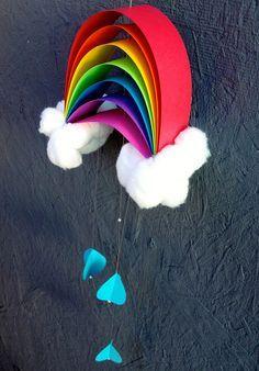 rainbow craft - construction paper, glue, twine, cotton balls