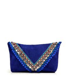 Matthew Williamson Stylebop (US) Electric Blue Suede Embellished Clutch
