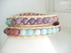 RUSTIC Pastel Jade Tan Leather Double Wrap by JulieEllynDesigns, $28.00