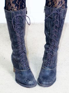 vintage FRYE tall lace up combat military granny tall knee high stacked heel boots sz 10 BM find more women fashion on misspool.com
