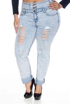 e7256b5f2bd Rad Fad Distressed Plus Size High Waist Acid Wash Jeans - Light from Wax  Jeans at Lucky 21 plus size ripped denim