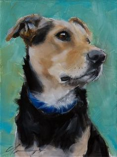 "Daily Paintworks - ""Scooby"" - Original Fine Art for Sale - © Clair Hartmann #OilPaintingDog"