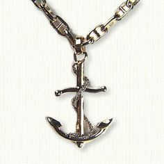 Certified 10k Gold Twisted Style Nautical Rope Fouled Anchor Pendant Necklace